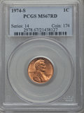 Lincoln Cents, 1974-S 1C MS67 Red PCGS. PCGS Population: (22/0). NGC Census: (1/0). ...