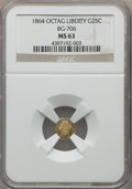 California Fractional Gold , 1864 25C Liberty Octagonal 25 Cents, BG-706, High R.5, MS63 NGC.NGC Census: (3/4). PCGS Population: (12/12). ...