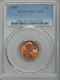 Lincoln Cents, 1980 1C MS67+ Red PCGS. PCGS Population: (82/1 and 2/0+). NGC Census: (30/0 and 0/0+). ...