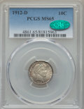 Barber Dimes: , 1912-D 10C MS65 PCGS. CAC. PCGS Population: (29/21). NGC Census: (27/3). CDN: $575 Whsle. Bid for problem-free NGC/PCGS MS6...