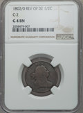 Half Cents, 1802/0 1/2 C Reverse of 1802, C-2, B-2, R.3, Good 4 Brown NGC. PCGS Population: (0/13). CDN: $70 Whsle. ...