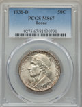 Commemorative Silver, 1938-D 50C Boone MS67 PCGS. PCGS Population: (80/3). NGC Census: (29/5). CDN: $900 Whsle. Bid for problem-free NGC/PCGS MS6...