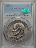 Eisenhower Dollars, 1973-D $1 MS66+ PCGS. CAC. PCGS Population: (334/12 and 20/0+). NGC Census: (73/3 and 0/0+). Mintage 2,000,000. ...