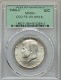 Kennedy Half Dollars, 1964-D 50C Doubled Die Obverse, FS-101, MS66+ PCGS. (013.4). PCGSPopulation: (2/1 and 2/0+). NGC Census: (0/0 and 0/0+). ...