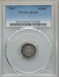 Seated Half Dimes: , 1847 H10C MS65 PCGS. PCGS Population: (20/20). NGC Census: (18/20). CDN: $850 Whsle. Bid for problem-free NGC/PCGS MS65. Mi...