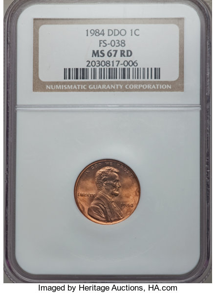 1984 1C Doubled Die Obverse, FS-102, MS67 Red NGC  (FS-038