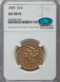Liberty Eagles: , 1899 $10 AU58 Prooflike NGC. CAC. CDN: $640 Whsle. Bid for problem-free NGC/PCGS...