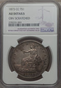 Trade Dollars, 1873-CC T$1 -- Obverse Scratched -- NGC Details. AU. NGC Census:(2/102). PCGS Population: (21/124). CDN: $2,500 Whsle. Bid...
