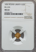 California Fractional Gold , 1856 25C Liberty Round 25 Cents, BG-230, Low R.4, MS64 NGC. NGCCensus: (4/5). PCGS Population: (23/3). ...