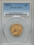 Indian Half Eagles: , 1914-S $5 AU58 PCGS. PCGS Population: (214/492). NGC Census:(562/523). CDN: $900 Whsle. Bid for problem-free NGC/PCGS AU58...