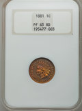 Proof Indian Cents: , 1881 1C PR65 Red NGC. NGC Census: (30/15). PCGS Population: (54/24). CDN: $950 Whsle. Bid for problem-free NGC/PCGS PR65. M...