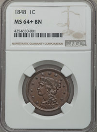 1848 1C MS64+ Brown NGC. NGC Census: (48/28 and 1/1+). PCGS Population: (66/17 and 4/0+). CDN: $600 Whsle. Bid for probl...