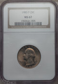 Washington Quarters, 1983-P 25C MS67 NGC. NGC Census: (8/0). PCGS Population: (11/0).Mintage 673,534,976. . From The Mile High Collection....