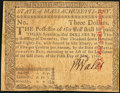 Colonial Notes:Massachusetts, Massachusetts May 5, 1780 $3 Uncancelled Very Fine-Extremely Fine.. ...