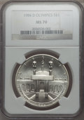 1984-D $1 Olympic Silver Dollar MS70 NGC. NGC Census: (24). PCGS Population: (29). CDN: $2,150 Whsle. Bid for problem-fr...