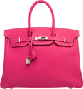 Luxury Accessories:Bags, Hermes Limited Edition Candy Collection 35cm Rose Tyrien & Rubis Epsom Leather Birkin Bag with Palladium Hardware. O Squar...