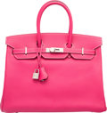 Luxury Accessories:Bags, Hermes Limited Edition Candy Collection 35cm Rose Tyrien &Rubis Epsom Leather Birkin Bag with Palladium Hardware. OSquar...