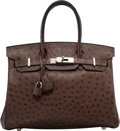 """Luxury Accessories:Bags, Hermes 30cm Marron Fonce Ostrich Birkin Bag with Palladium Hardware. K Square, 2007. Good Condition. 12"""" Width x 8"""" Height..."""