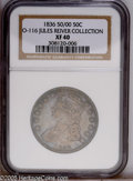 Bust Half Dollars: , 1836 50C 50 Over 00 XF40 NGC. O-116. R.2. Intermingled lilac-grayand navy blue iridescence complements gunmetal gray surfa...