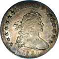 1798 $1 10 Arrows. B-17, BB-101, R.4. AU53 NGC. Wide date, 17 close, 8 touches bust; Line star pattern, five vertical sh...