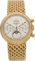 Timepieces:Wristwatch, Patek Philippe Very Fine Ref. 3970/002 Yellow Gold PerpetualCalendar With Chronograph, Moon Phase, Leap Year & 24 HourIndica...