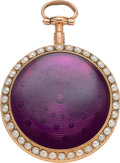 Timepieces:Pocket (pre 1900) , E. Dobell, Hastings, Gold & Enamel Cased Fusee With Pearls,circa 1830. ...