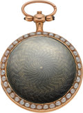 Timepieces:Pocket (pre 1900) , Swiss Rare Miniature Hunters Case Enamel, Gold & Pearl VergeFusee, circa 1840. ...