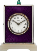 Timepieces:Clocks, Cartier Very Fine Silver, Enamel, Diamond & Agate Quarter Repeating Clock, circa 1915. ...