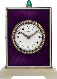Cartier Very Fine Silver, Enamel, Diamond & Agate Quarter Repeating Clock, circa 1915