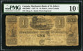 Canadian Currency: , St. John's, LC- Mechanics Bank of St. John's 1 Piastre Nov. 29, 1837 Ch. # 440-12-04-02.. ...