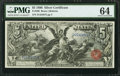 Large Size:Silver Certificates, Fr. 269 $5 1896 Silver Certificate PMG Choice Uncirculated 64.. ...