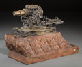 Bronze:European, A Mechanical Bronze Model of an Artillery Emplacement on RougeMarble Base, 20th century . 10-1/2 h x 12 w x 4-3/4 d inches ...