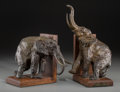 Bronze:European, A Pair of Ary Bitter Patinated Bronze Elephant Form Bookends,Paris, circa 1927. Marks: Ary Bitter, Sclp, Susse Freres, Ed...(Total: 2 Items)