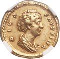 Ancients:Roman Imperial, Ancients: Diva Faustina Senior, wife of Antoninus (died AD 141). AVaureus (19mm, 7.24 gm, 6h). NGC XF 5/5 - 4/5....