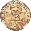 Ancients:Byzantine, Ancients: Justinian II, second reign (AD 705-711), with Tiberius.AV solidus (20mm, 4.45 gm, 6h). NGC MS 4/5 - 5/5....