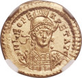Ancients:Roman Imperial, Ancients: Leo I the Great, Eastern Roman Emperor (AD 457-474). AV solidus (21mm, 4.48 gm, 5h). NGC Choice M...