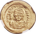 Ancients:Byzantine, Ancients: Justin II (AD 565-578). AV lightweight solidus of 20siliquae (21mm, 3.70gm, 6h). NGC MS 4/5 - 4/5....
