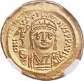 Ancients:Byzantine, Ancients: Justin II (AD 565-578). AV solidus (21mm, 4.41 gm, 5h).NGC Choice MS ★ 5/5 - 5/5....