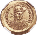 Ancients:Roman Imperial, Ancients: Theodosius II, Eastern Roman Emperor (AD 402-450). AVsolidus (21mm, 4.44 gm, 6h). NGC MS 5/5 - 3/5....