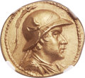 Ancients:Greek, Ancients: GRECO-BACTRIAN KINGDOM. Eucratides I the Great (ca.171-145 BC). AV stater (20mm, 8.47 gm, 11h). NGC MS 5/5 - 4/5, FineStyle....