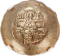 Ancients:Byzantine, Ancients: Isaac II Angelus, first reign (1185-1195). EL asprontrachy (32mm, 4.26 gm, 6h). NGC MS 5/5 - 4/5....