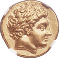 Ancients:Greek, Ancients: MACEDONIAN KINGDOM. Philip II (359-336 BC). AV stater(19mm, 8.60 gm, 10h). NGC MS ★ 5/5 - 5/5....