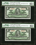 Canadian Currency: , BC-21c $1 1937 Five Consecutive Examples.. ... (Total: 5 notes)