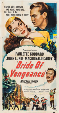 "Bride of Vengeance & Other Lot (Paramount, 1949). Three Sheet (41"" X 79"") & One Sheet (27"" X 41&q..."