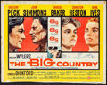 """Movie Posters:Western, The Big Country (United Artists, 1958). Trimmed Half Sheet (21.25"""" X 28"""") Style B. Western.. ..."""