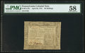 Colonial Notes:Pennsylvania, Pennsylvania April 20, 1781 20s PMG Choice About Unc 58.. ...