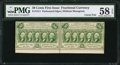 Fractional Currency:First Issue, Fr. 1311 50¢ First Issue Uncut Horizontal Pair PMG Choice About Unc 58 EPQ.. ...