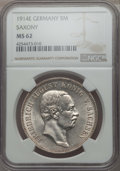 German States:Saxony, German States: Saxony. Friedrich August III 5 Mark 1914-E MS62 NGC,...