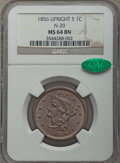 1856 1C Upright 5, N-20, R.3, MS64 Brown NGC. CAC. NGC Census: (3/1). PCGS Population: (2/1). CDN: $345 Whsle. Bid for p...