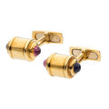 Estate Jewelry:Cufflinks, Pink Tourmaline, Iolite, Gold Cuff Links. . ... (Total: 2 Items)